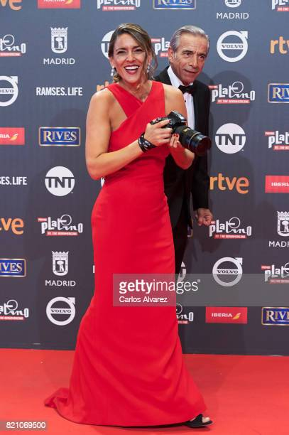 Imanol Arias and Irene Meritxell attend the Platino Awards 2017 photocall at the La Caja Magica on July 22 2017 in Madrid Spain