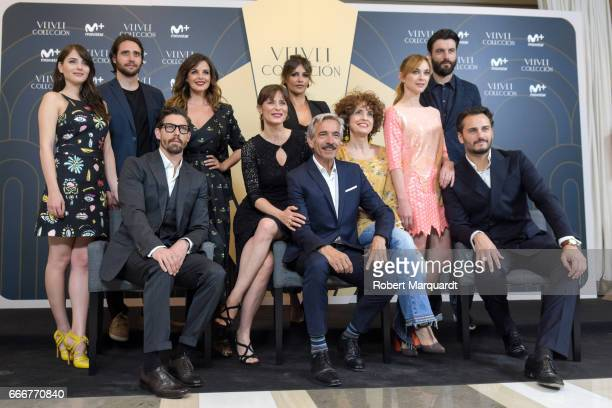 Imanol Arias and the cast of Velet Coleccion pose during a photocall for their latest television series held at the Hotel Majestic on April 10 2017...