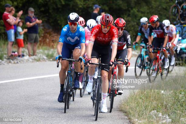 Imanol Erviti of Spain and Movistar Team & Connor Swift of The United Kingdom and Team Arkéa Samsic in the Breakaway during the 108th Tour de France...