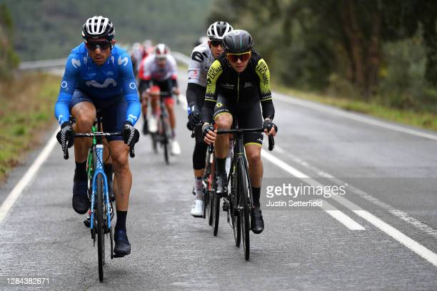 Imanol Erviti of Spain and Movistar Team / Nicholas Schultz of Australia and Team Mitchelton - Scott / during the 75th Tour of Spain 2020, Stage 17 a...