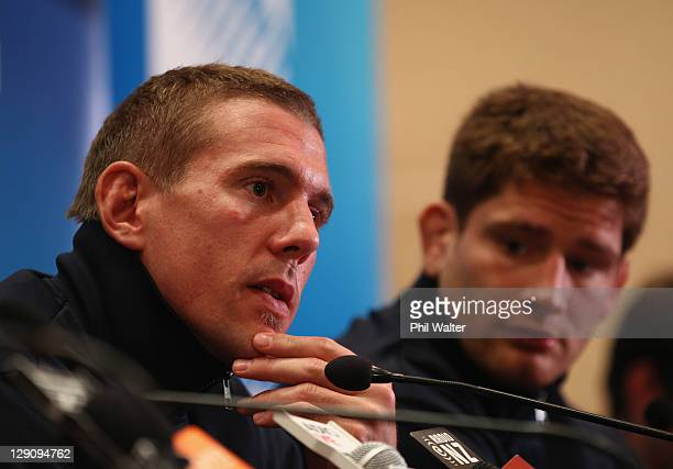 Imanol Harinordoquy and Pascal Pape of France speak during a France IRB Rugby World Cup 2011 press conference at the Crowne Plaza Hotel on October 13...