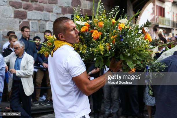 Imanol Harinordoquy is seen at the burial of Pierre Camou in Saint Jean Pied de Port during the Funeral of former rugby player Pierre Camou on August...