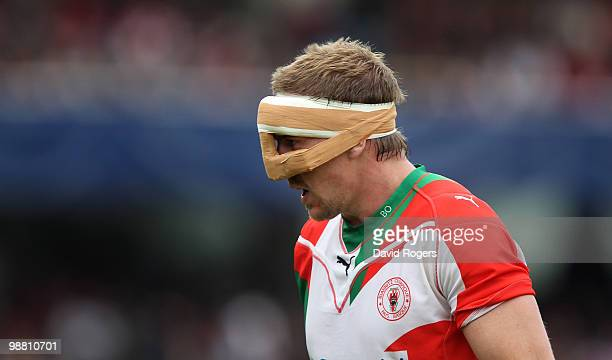 Imanol Harinordoquy of Biarritz wears a nose protector during the Heineken Cup semi final match between Biarritz Olympique and Munster at Estadio...