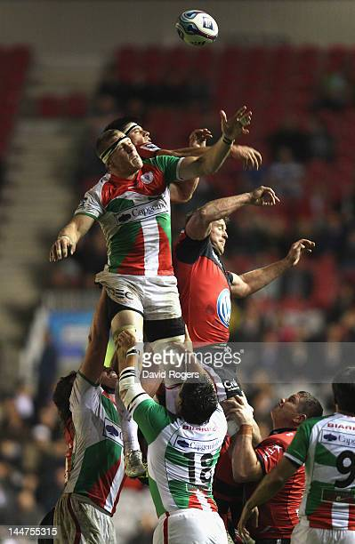 Imanol Harinordoquy of Biarritz wins the lineout ball during the Amlin Challenge Cup Final between Biarritz Olympique and RC Toulon at the Stoop on...