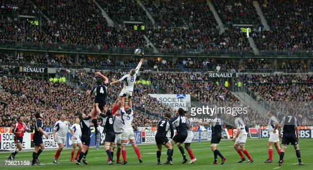 Imanol Harinordoquy of France dominates in the lineout during the RBS Six Nations Rugby match between France and Scotland at the Stade De France on...
