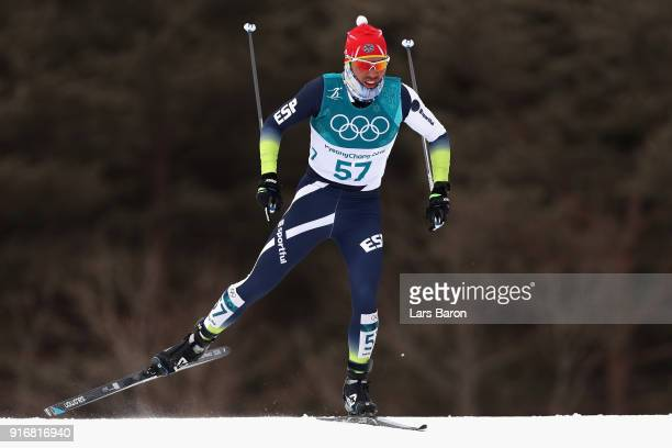 Imanol Rojo of Spain competes during the Men's 15km and 15km Skiathlon CrossCountry Skiing on day two of the PyeongChang 2018 Winter Olympic Games at...