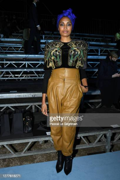 Imany attends the Balmain Womenswear Spring/Summer 2021 show as part of Paris Fashion Week on September 30, 2020 in Paris, France.