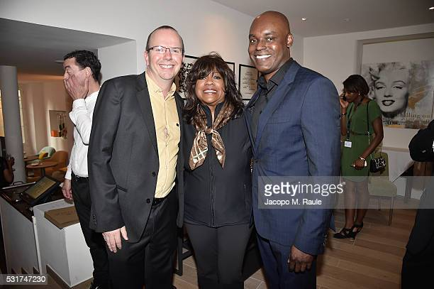 IMDb CEO Founder Col Needham Chaz Ebert and Toronto International Film Festival's Cameron Bailey attends IMDb's 2016 Dinner Party In Cannes at...