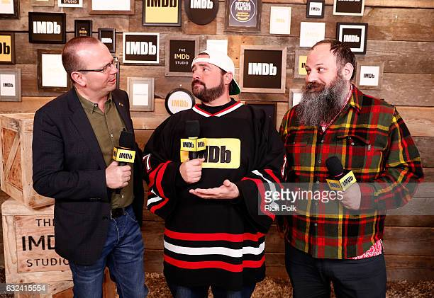 IMDb CEO Founder Col Needham Kevin Smith and IMDb Entertainment Editor Arno Kazarian attend The IMDb Studio featuring the Filmmaker Discovery Lounge...
