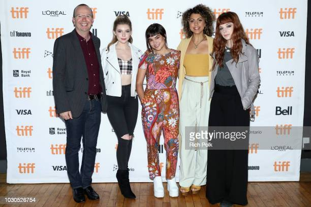 IMDb Founder and CEO Col Needham Eleanor WorthingtonCox Devery Jacobs Jess Salgueiro and Michaela Kurimsky attend The 2018 Rising Stars Power Break...