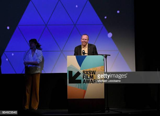IMDb founder and CEO Col Needham takes part in the SXSW Film Awards show during the 2018 SXSW Conference and Festivals at Paramount Theatre on March...