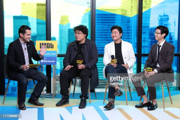 IMDb host Dave Karger director Bong JoonHo actors Choi Woo Shik and Song KangHo of 'Parasite' attend The IMDb Studio Presented By Intuit QuickBooks...