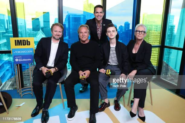 IMDb host Dave Karger director Rian Johnson actors Don Johnson Jaeden Martell and Jamie Lee Curtis of 'Knives Out' attend The IMDb Studio Presented...