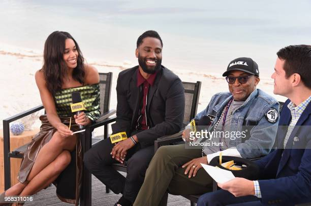 IMDb Special Correspondent Dave Karger interviews actors Laura Harrier John David Washington and director Spike Lee for IMDb On The Scene during The...