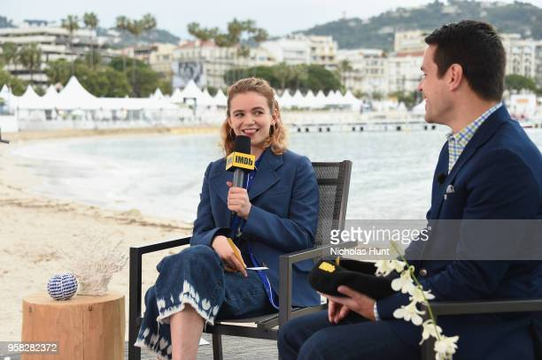 IMDb Special Correspondent Dave Karger interviews actress Morgan Saylor for IMDb On The Scene during The 71st Annual Cannes Film Festival at American...
