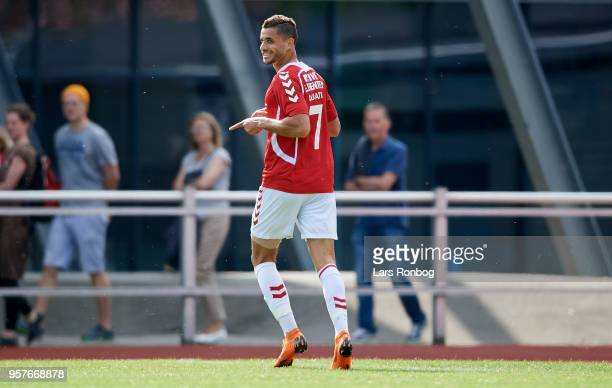 Imed Louati of Vejle Boldklub celebrates after scoring their first goal during the Danish NordicBet Liga match between Skive IF and Vejle Boldklub at...