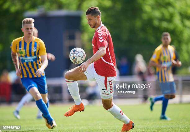 Imed Louati of Vejle Boldklub controls the ball during the Danish NordicBet Liga match between Skive IF and Vejle Boldklub at Spar Nord Arena on May...
