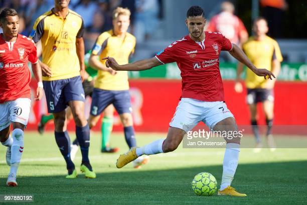 Imed Louati of Vejle Boldklub in action during the Danish Superliga match between Vejle Boldklub and Hobro IK at Vejle Stadion on July 13 2018 in...