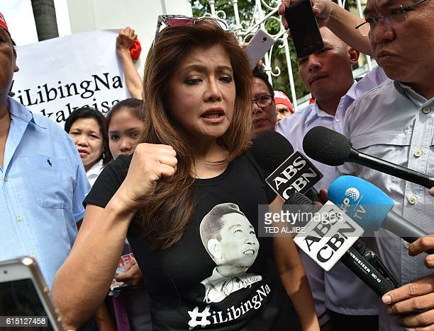 Imee Marcos daughter of the late dictator Ferdinand Marcos and governor of the family's northern stronghold of Ilocos Norte gestures during an...