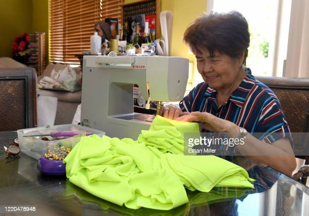 Imelda Aldave sews cloth face masks for health care workers at the home of her nephew UNLV School of Nursing assistant professor Dr Rhigel Jay Tan...