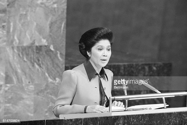Imelda Marcos addresses the U.N. General Assembly, suggesting that the Assembly convene next in Manila. 1977.