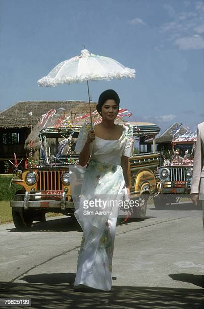 Imelda Marcos, the wife of President Ferdinand Marcos of the Philippines, in Nayong Pilipino Park, Manila, February 1972.