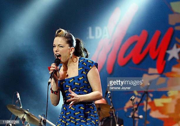 Imelda May performs live on the Big Top stage during day one of the Isle of Wight Festival 2011 at Seaclose Park on June 10 2011 in Newport Isle of...