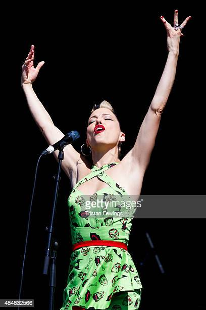 Imelda May performs on Day 1 of the V Festival at Hylands Park on August 22 2015 in Chelmsford England
