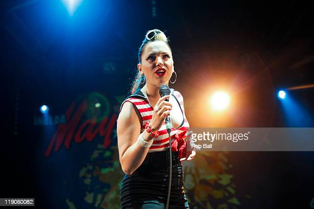 Imelda May performs on day two of the Larmer Tree Festival at Larmer Tree Gardens on July 14 2011 in Salisbury England