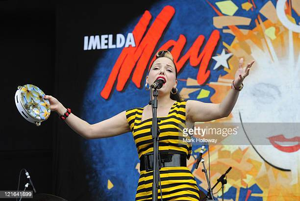 Imelda May performs on stage at V Festival in Hylands Park on August 21 2011 in Chelmsford United Kingdom