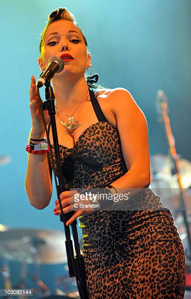 Imelda May performs on stage during the third and final day of the Womad Festival at Charlton Park on July 25 2010 in Wiltshire England