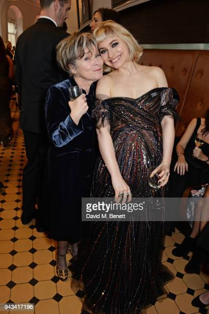 Imelda Staunton and Imogen Poots attend The Olivier Awards with Mastercard at Royal Albert Hall on April 8 2018 in London England