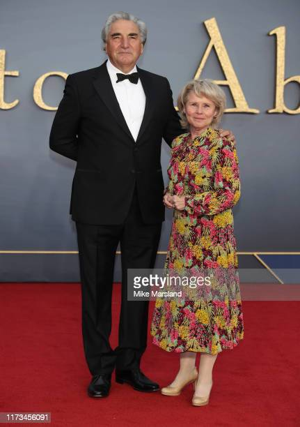 "Imelda Staunton and Jim Carter attend the ""Downton Abbey"" World Premiere at Cineworld Leicester Square on September 09, 2019 in London, England."