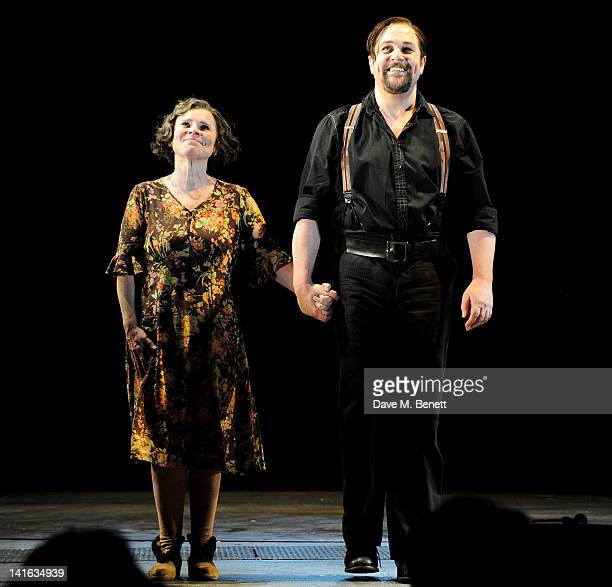 Imelda Staunton and Michael Ball bow at the curtain call during the press night performance of 'Sweeney Todd' at the Adelphi Theatre on March 20 2012...