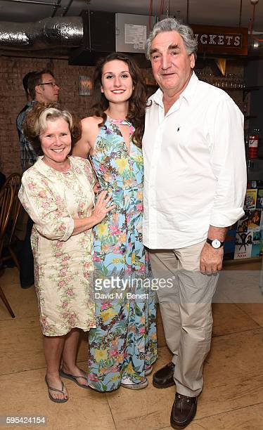 Imelda Staunton Bessie Carter and Jim Carter attend the after party for Roundabout at Park Theatre on August 25 2016 in London England