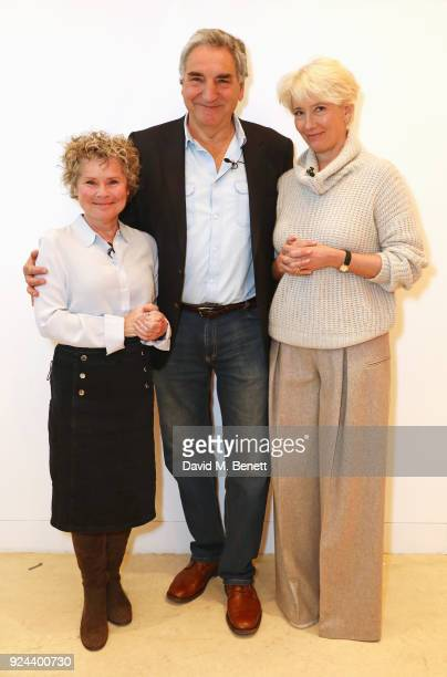 Imelda Staunton Jim Carter and Emma Thompson pose backstage ahead of 'Jim Carter In Conversation With Emma Thompson and Imelda Staunton' at The...