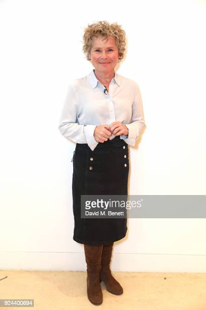 Imelda Staunton poses backstage ahead of 'Jim Carter In Conversation With Emma Thompson and Imelda Staunton' at The Tricycle Theatre on February 25...