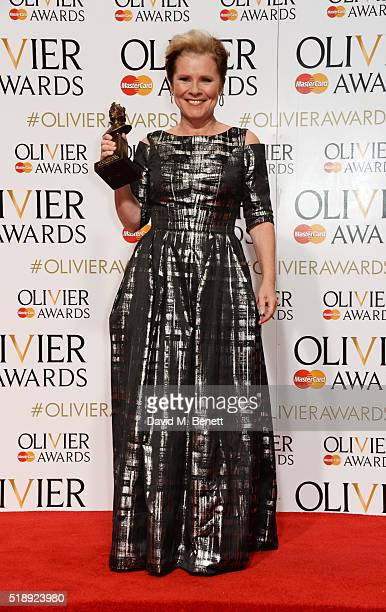 Imelda Staunton winner of the Best Actress in a Musical award for Gypsy poses in the Winners Room at The Olivier Awards with Mastercard at The Royal...
