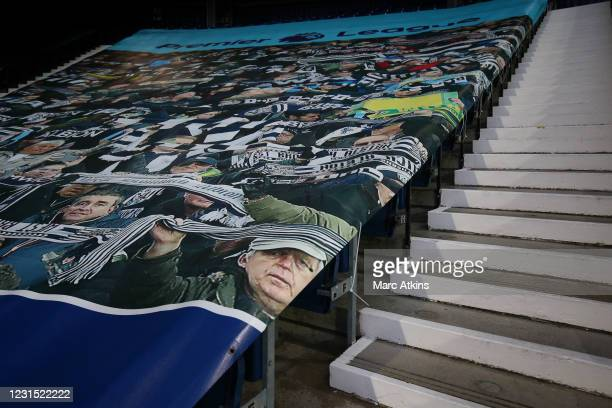 Imges of football fans printed onto a covering on the empty seats during the Premier League match between West Bromwich Albion and Everton at The...