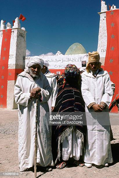 Imilchil Morocco Father son and fiancee during the Moussem