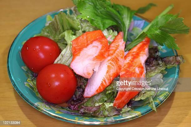 Imitation crab sticks salad