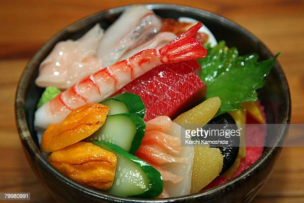 Imitation sushi is displayed at The Sample Factory on February 25 2008 in Gujo Gifu Japan Gujo City has more than a 50 percent share of the imitation...
