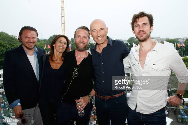 Imitator Nicolas Canteloup poses with his autors Laurent Vassilian Linda Marasco Philippe Caveriviere and Arnaud Demanche during the Men Final of the...