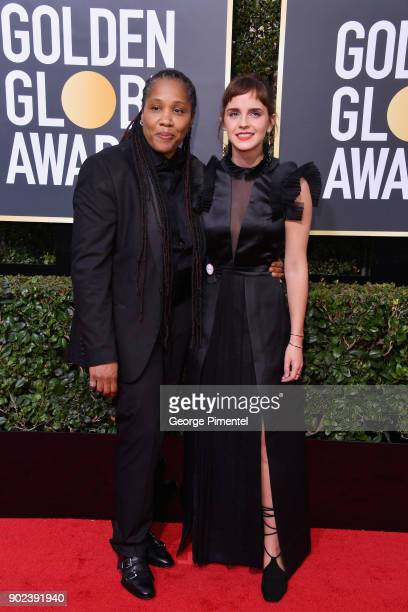 Imkaan Executive Director Marai Larasi and actor Emma Watson attend The 75th Annual Golden Globe Awards at The Beverly Hilton Hotel on January 7 2018...