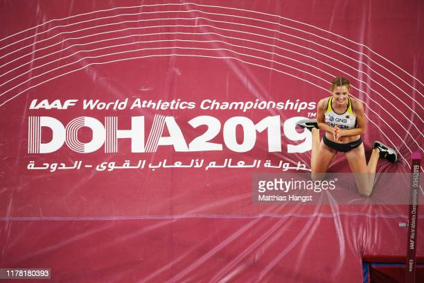 Imke Onnen of Germany reacts in the Women's High Jump final during day four of 17th IAAF World Athletics Championships Doha 2019 at Khalifa...