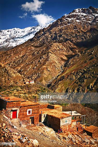 imlil valley in moroccos atlas mountain range - valley stock pictures, royalty-free photos & images