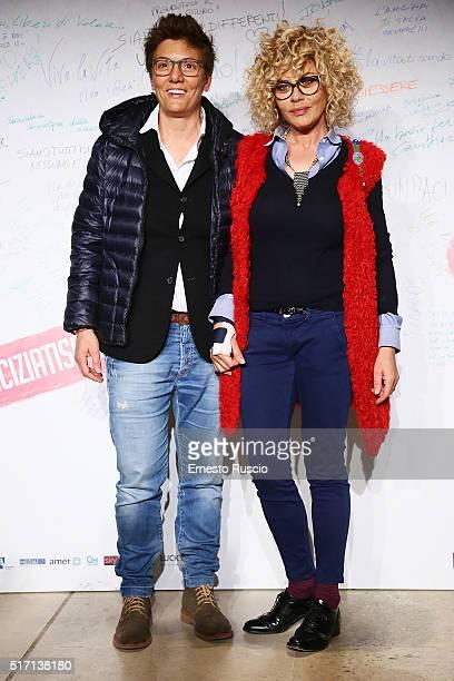 Imma Battaglia and Eva Grimaldi attend 'Un Bacio' Premiere at Auditorium Parco Della Musica on March 23 2016 in Rome Italy
