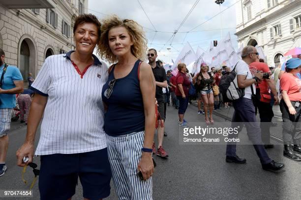 Imma Battaglia and Eva Grimaldi marches in a Gay Pride parade on June 9 2018 in Rome Italy