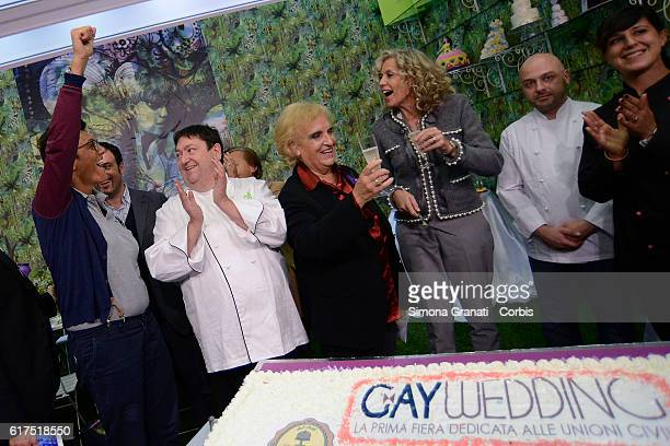 Imma Battaglia and Senator Monica Cirinnà whose name is related to the law on civil unions during the inauguration of Gay Wedding the first...