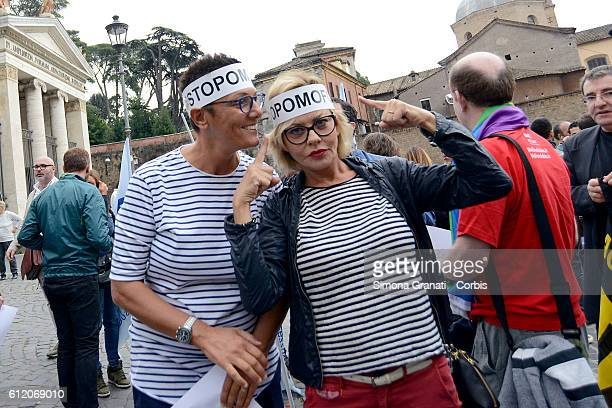 Imma Battaglia and the actress Eva Grimaldi partecipate at the Flash mob against homophobia to demand the reopening of the work on the Law Against...